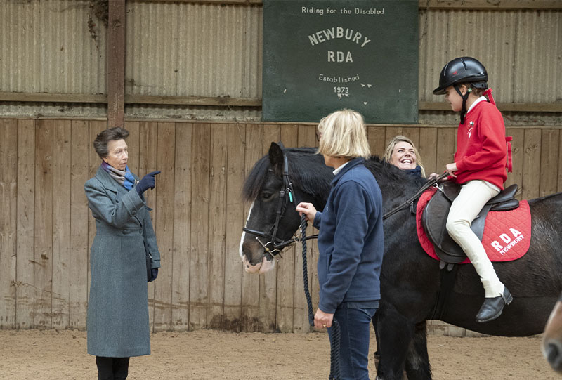 HRH talking to rider, Isabelle Howe